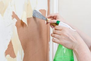renovation of room, wallpapering: preparation of walls. Cleaning wall from old wallpaper with chemical liquid stripper